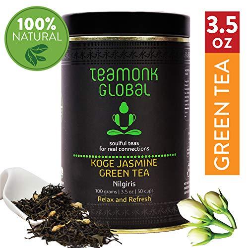 Nilgiri Jasmine Green Tea, 3.5oz (50 Cups)   Helps to Relax & Refresh   100% Natural Jasmine Buds with Whole Loose Leaf Green Tea   No Additives