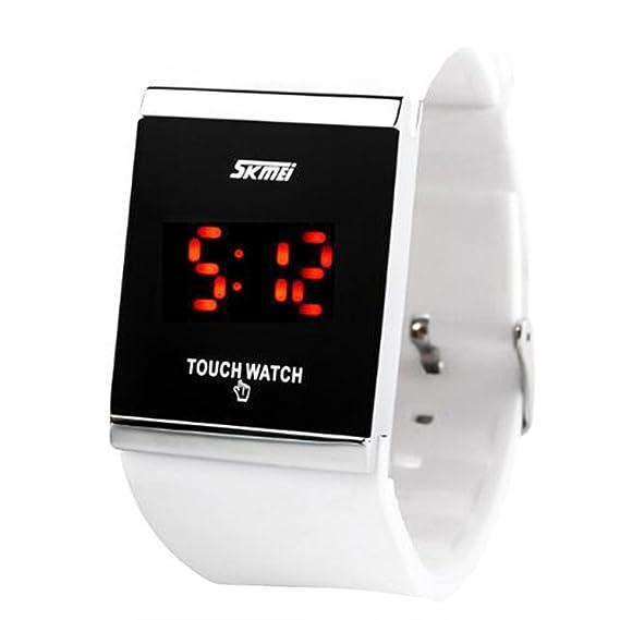 diseño simple de línea cuadrada de control digital de banda de goma de los hombres unisex de las mujeres llevó el reloj de la pantalla blanca: Amazon.es: ...