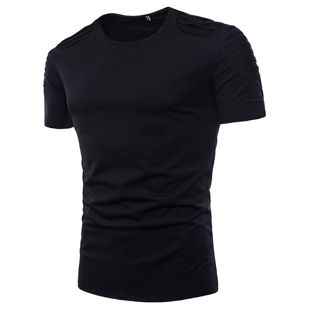 Winsummer Mens T-Shirts Regular Fit T-Shirts Casual Cotton Short Sleeve Tee Shirts Basic Layer Black