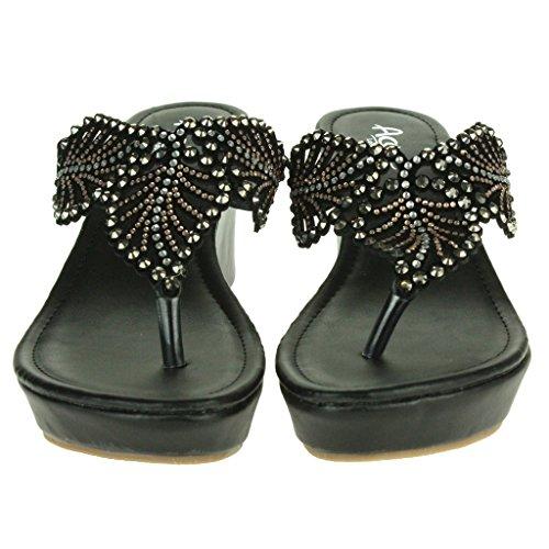 Mujer Señoras Diamante Detalle de hoja Toe Post Noche Casual Comodidad Ponerse Tacón de cuña Sandalias Zapatos Tamaño Negro