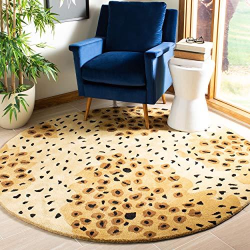 - Safavieh Soho Collection SOH715A Handmade Gold and Black Premium Wool Round Area Rug (6' Diameter)