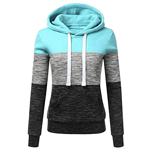 Ulanda Womens Casual Hoodies Sweatshirt Color Block Long Sleeve Hooded Tops Jumper Pullover with Pockets (4XL, Blue) (Blue And White Striped Zip Up Hoodie)
