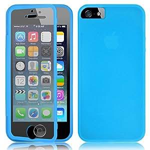 Swees® Funda LTE TPU Back Cover con frente Carcasa Case para iPhone 5 / 5S + Protectores de Pantalla - Azul