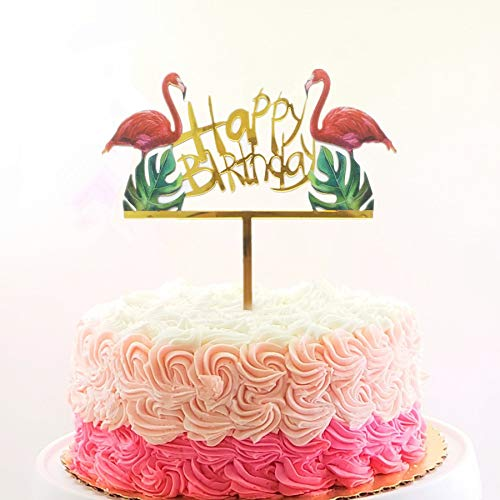 Flamingo Happy Birthday Cake Toppers Gold Picks Palm Leaf Tropical Hawaiian Luau Themed Party Decorations Amazon Grocery Gourmet Food
