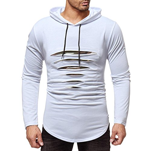 Clearance Men's Casual Long Sleeve Hoodie Sweatshirt - vermers Mens Fashion Autumn Winter Ripped Zipper Slim Fit Top(2XL, White) by vermers