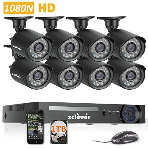 Zclever 8 Outdoor 1080N HD 1200TVL Home Security - 8 Channel Security Cameras