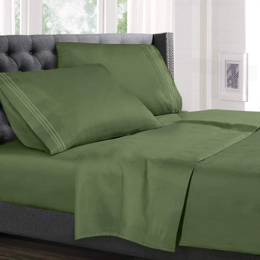 Hearth & Harbor Deep Pocket Fitted Sheet up to 18 inches Bedding Set - Luxury Soft Quality Double Brushed Microfiber, Split King, Calla Green