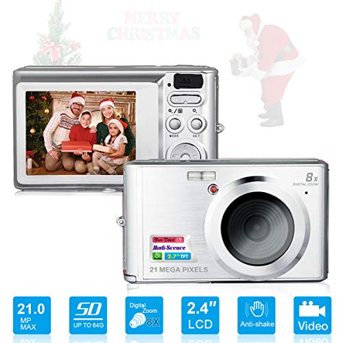 HD Mini Digital Cameras,Point and Shoot Digital Video Cameras-Travel,Camping,Gifts (Silver)