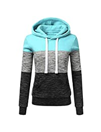 OCEAN-STORE Womens Hoodies Sweatshirt Shirts Patchwork Hooded Blouse Tops