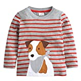 Popshion Toddler Shirts Cotton Crewneck Boys T-Shirt Cartoon Long Sleeve Tops Tees Shirts 1-7T Puppy 2T