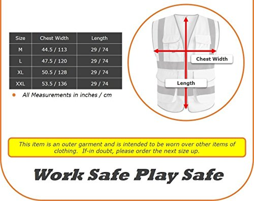 G & F Products 9 Pockets Class 2 High Visibility Zipper Front Safety Vest With Reflective Strips, Yellow Meets ANSI/ISEA Standards (X-Large) by JKSafety (Image #4)