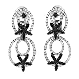 18K White Gold Black & White Diamond Dangle Earrings DE-5