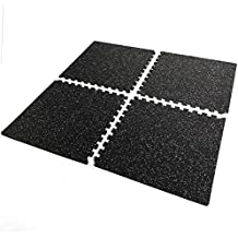 XtremerpowerUS Interlocking Rubber Mat, Home Exercise Protective Mat, 16 SQ.FT
