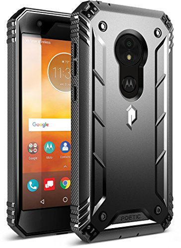 Moto E5 Play Rugged Case, Moto E5 Cruise Rugged Case, Poetic Revolution [360 Degree Protection] Full-Body Rugged Heavy Duty Case with [Built-in-Screen Protector] for Moto E5 Play/Moto E5 Cruise Black