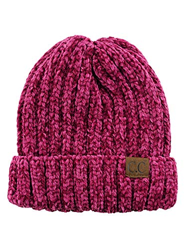 C.C Unisex Chenille Soft Warm Stretchy Thick Cuffed Knit Beanie Cap Hat-Hot Pink