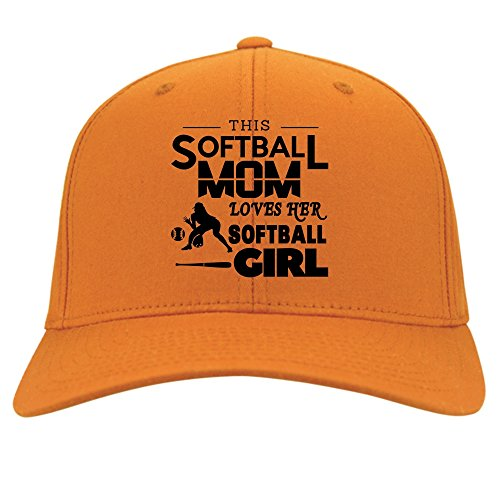 This Softball Mom Knit Cap, I Love My Softball Girl Hat (Twill Cap - Yellow) (Twill Player)