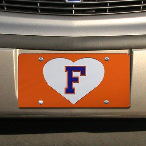 NCAA Florida Gators Orange Mirrored Heart License Plate (License Plate Mirrored Heart)