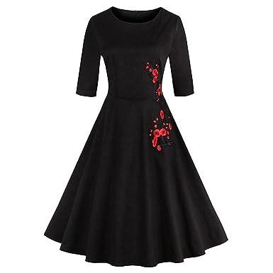 Ladyjiao Women Vintage Floral Print Party Swing Dress Rockabilly Prom Dress Black XL