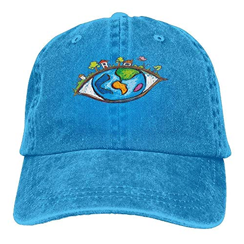 HOOAL Hat Eye World Denim Skull Cap Cowboy Cowgirl Sport Hats for Men Women for $<!--$5.99-->