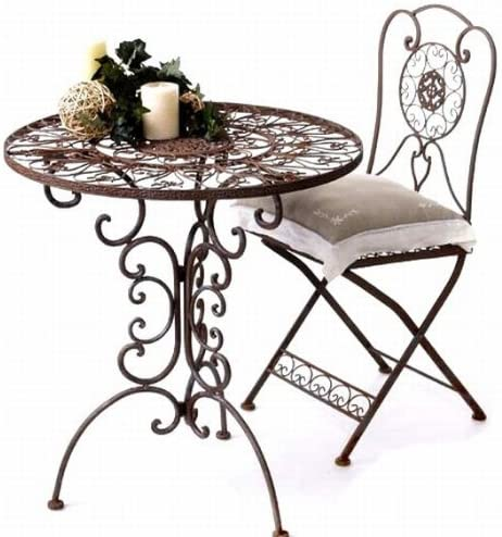 Gartengarnitur Tisch Rund Mit 2 Stuhlen Aus Metall Tecla