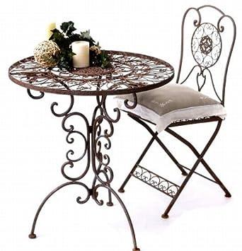 Gartentisch rund metall  Gartengarnitur Tisch rund mit 2 Stühlen aus Metall Tecla ...