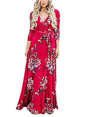 NuoReel Women's sexy V Neck long Sleeves Graffiti Floral Printed Prom Party Tunic Maxi Long Dress with Belt