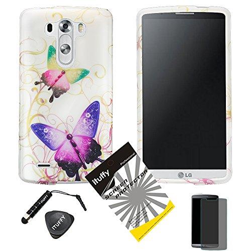 3 items Combo: ITUFFY (TM) Stylus Pen + Case Opener + Design Rubberized Snap on Hard Shell Cover Faceplate Skin Phone Case for LG D830 / D850 / D851 / VS985/ LG G3 (Green & Purple Butterfly) ()