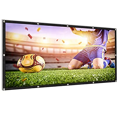100 inch Projector Screen 16:9 HD Portable Foldable Anti-Crease Movies Screen for Indoor Outdoor Home Theater Front and Rear Projection