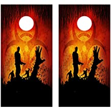Undead Zombie Graphic CORNHOLE LAMINATED DECAL WRAP SET Decals Board Boards Vinyl Sticker Stickers Bean Bag Game Wraps Vinyl Graphic Image Corn Hole