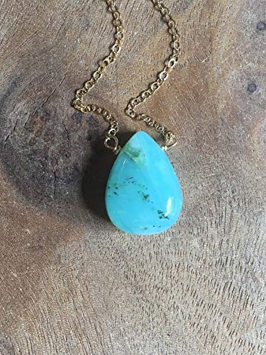 Peruvian Opal Pendant Gemstone Necklace Gold- 16 Inch Length Jewelry Gift For Women