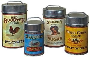 Vintage Canisters: Sugar, Flour, Coffee, Tea
