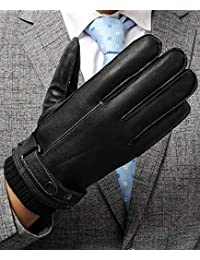 Men's Touchscreen Leather Gloves, Gifts Pack Driving Texting Winter Cold Weather Black Gloves with 3M Thinsulate, M
