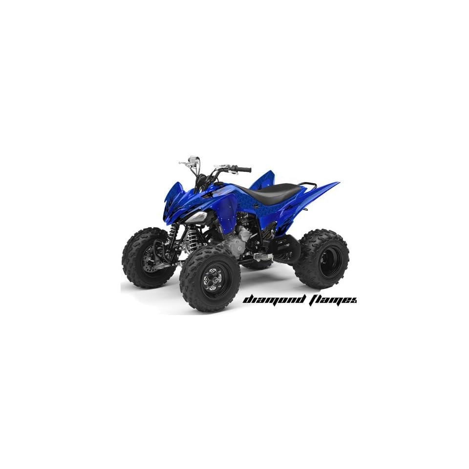 AMR Racing Yamaha Raptor 250 ATV Quad Graphic Kit   Diamond Flames Blue, Black