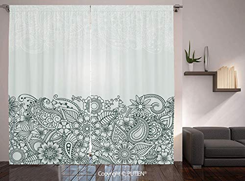 Thermal Insulated Blackout Window Curtain [ Henna,South Asian Body Paint Design Floral Arrangement with Various Wildflowers and Leaves Decorative,Green White ] for Living Room Bedroom Dorm Room Classr -