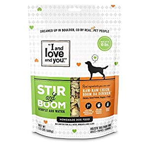 """I and love and you"" Stir & Boom Dehydrated Freeze Dried Raw Dog Food Topper (Variety of Flavors) 7"