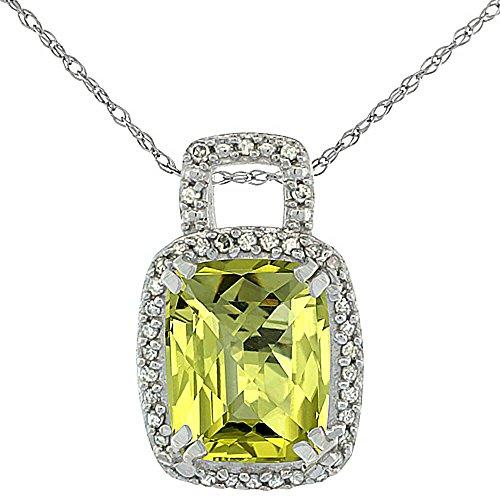 Or blanc 9carats Pendentif Quartz Citron Naturel Coussin octogone 10x 8mm et diamants Accents