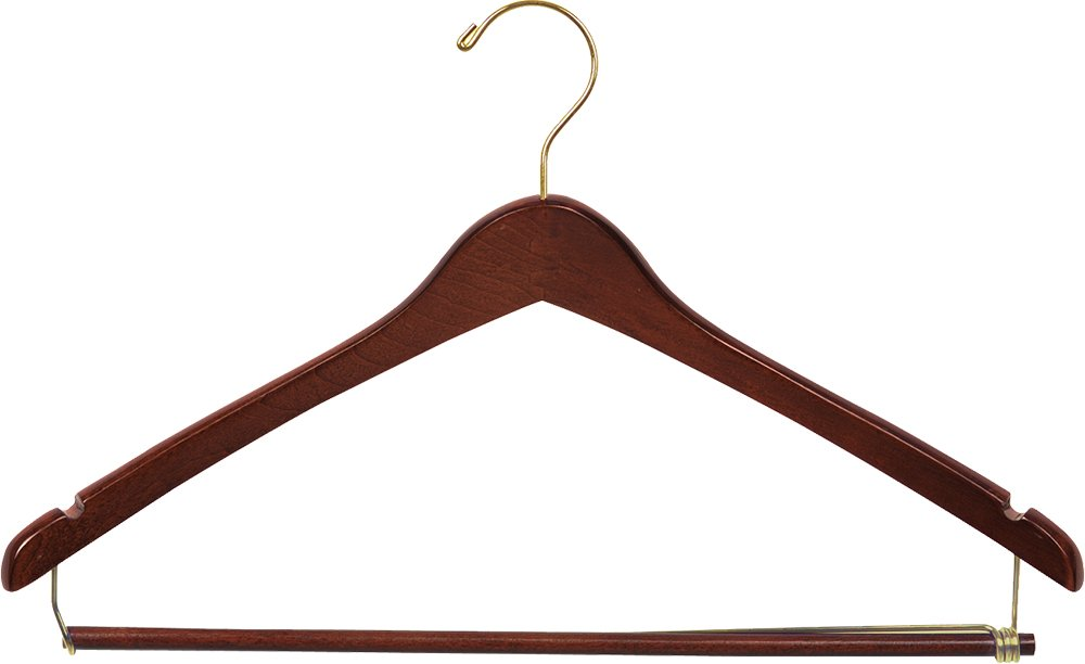 The Great American Hanger Company Curved Wood Suit Hanger w/Locking Bar, Box of 50 17 Inch Hangers w/Walnut Finish & Brass Swivel Hook & Notches for Shirt Dress or Pants