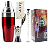 Eximius Power Stainless Steel Cocktail Shaker Set Gift Box   3pc Bar tool accessories   Bartender Martini Drink Mixer built-in Strainer, Double Jigger, Mixing Spoon & Recipe Book