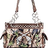 Brown Camo with Pistol Emblem Purse and Wallet Set