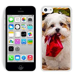 linJUN FENGSpecial Custom Made Christmas Dog With Red Gift Box White Hard Shell iphone 6 4.7 inch Plastic Phone Case