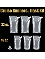 Cruise Runners Brand Ship Kit Flask 6 Pack Sneak Alcohol Rum Liquor Smuggle Booze Gift 3 32oz. and 3 16oz.