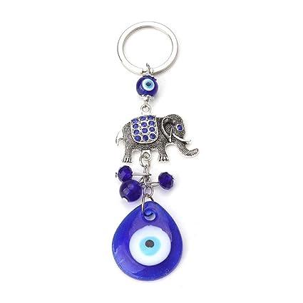 XHYKL Moda Elefante Azul Encanto Mal de Ojo llaveros Amuleto ...