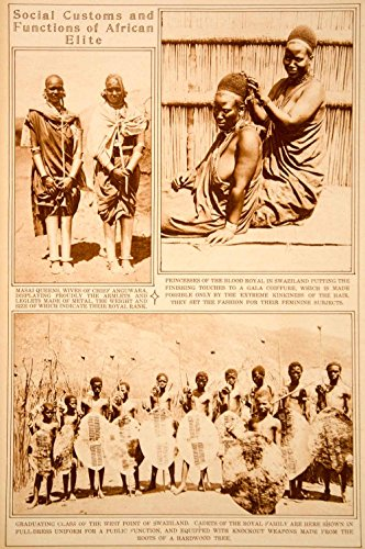 1923-rotogravure-swaziland-royalty-warriors-weapons-masai-queens-costume-ethnic-original-rotogravure