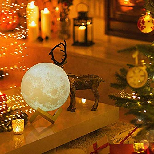 Moon Lamp, 16 Colors 3D Printed Moon Night Light (Large, 5.9in) with Stand, USB Charging, Touch & Remote Control - Cool Nursery Decor for Baby, Top Birthday Party Gift Christmas Gifts by YICAI (Image #2)