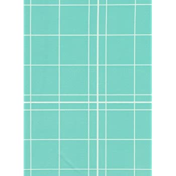 White Lines Flannelback Vinyl Tablecloth In Teal, 52x52 Square