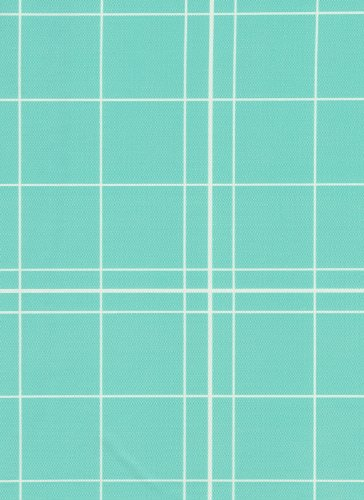 White Lines Flannelback Vinyl Tablecloth in Teal, 60x84 Oblong (Rectangle)