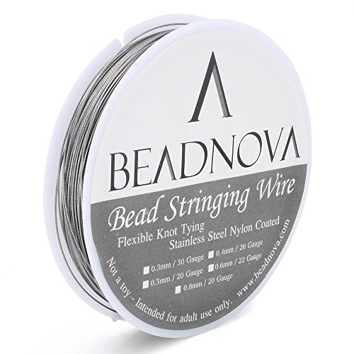 Freshwater Pearls And Glass Bead Necklace - BEADNOVA 0.019-Inch 7-Strand Nylon Coated Stainless Steel Bead Stringing Wire for Jewelry Making (33-Feet)