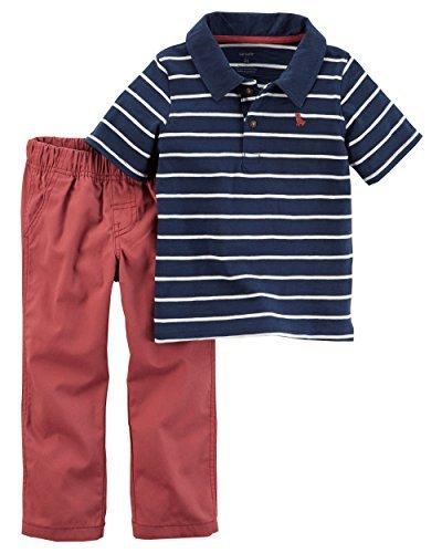 Ss Stripe Polo - Carters Baby Boys Boys 2pc Set ss stripe polo red woven pant, 6M