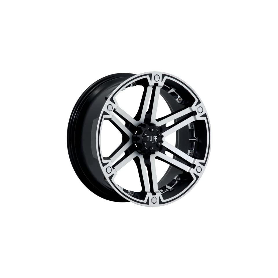 Tuff T01 18 Machined Black Wheel / Rim 6x5.5 with a 10mm Offset and a 106.1 Hub Bore. Partnumber T01HM6M10K106