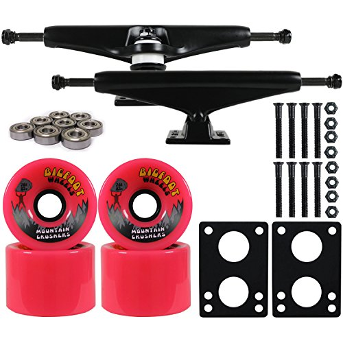 Longboard Skateboard Trucks Combo Set 76mm Bigfoot Crusher Wheels with Black Trucks, Bearings, and Hardware Package (76mm Pink Wheels, 7.0 (9.63